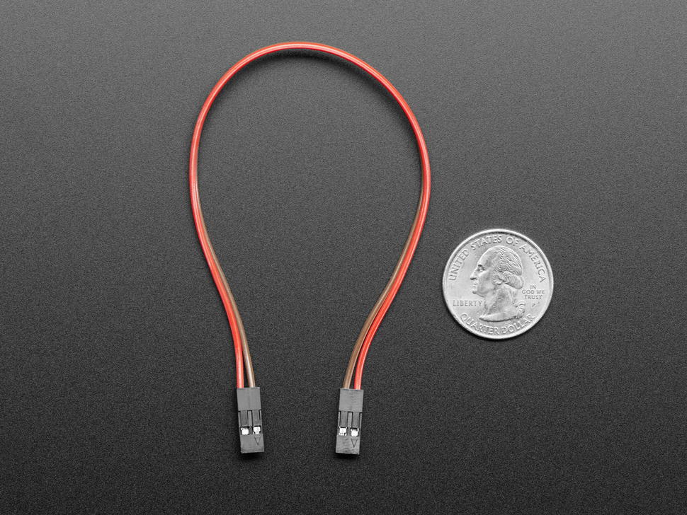20cm long 2-pin 2.54mm pitch cable next to US quarter for scale.