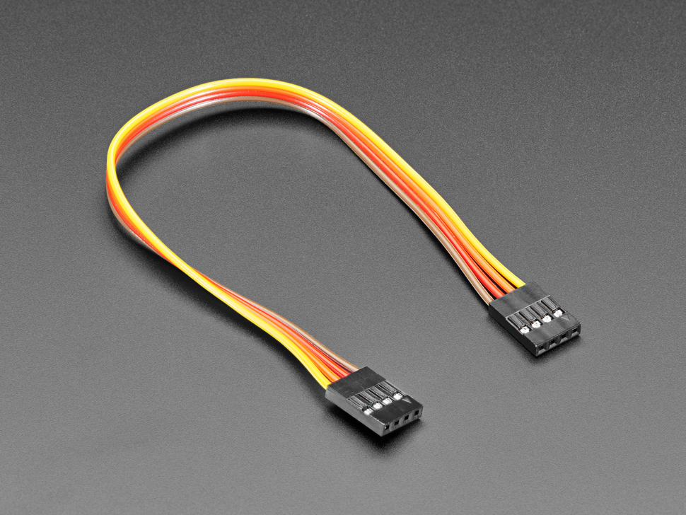 Angled shot of 20cm long 4-pin 2.54mm pitch cable.