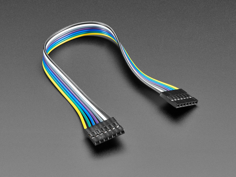 Angled shot of 20cm long 7-pin 2.54mm pitch cable.