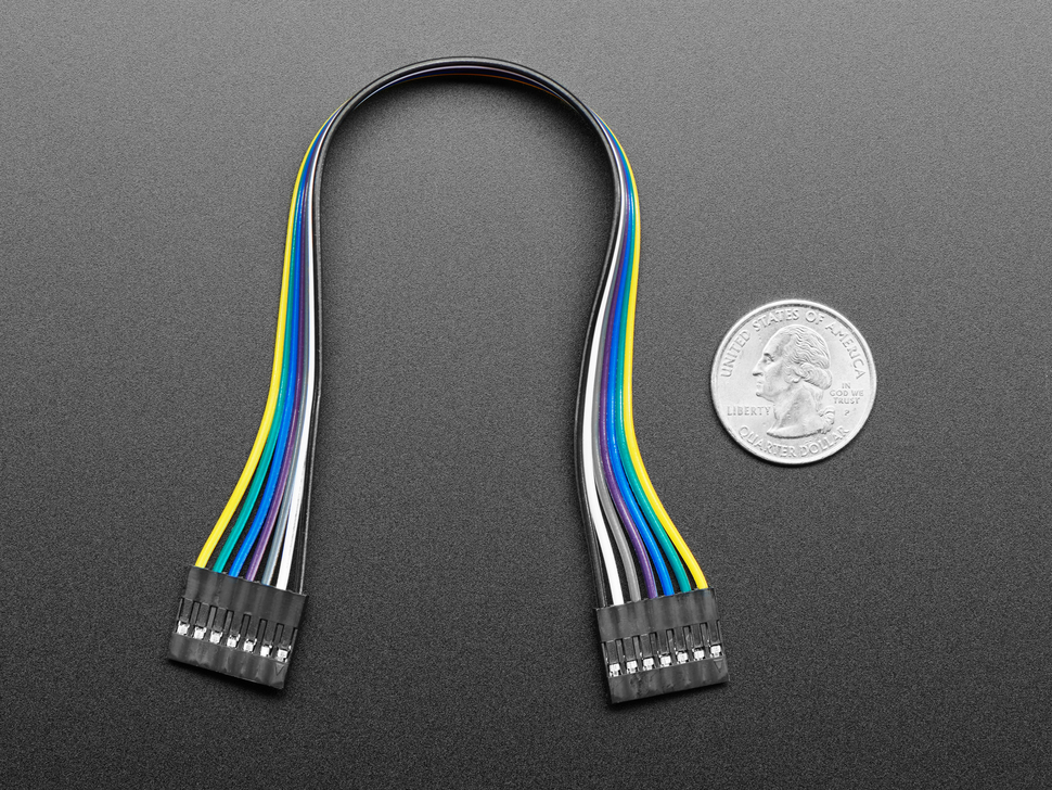 20cm long 7-pin 2.54mm pitch cable next to US quarter for scale.