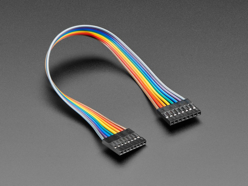 Angled shot of 20cm long 8-pin 2.54mm pitch cable.
