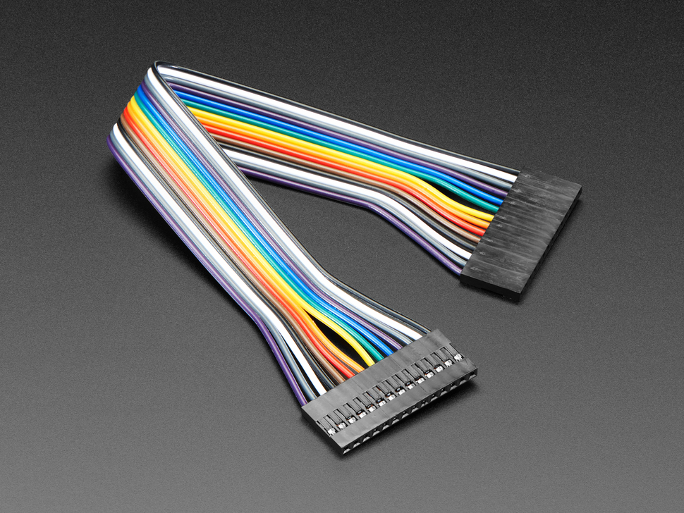 Angled shot of 20cm long 14-pin 2.54mm pitch jumper cable.
