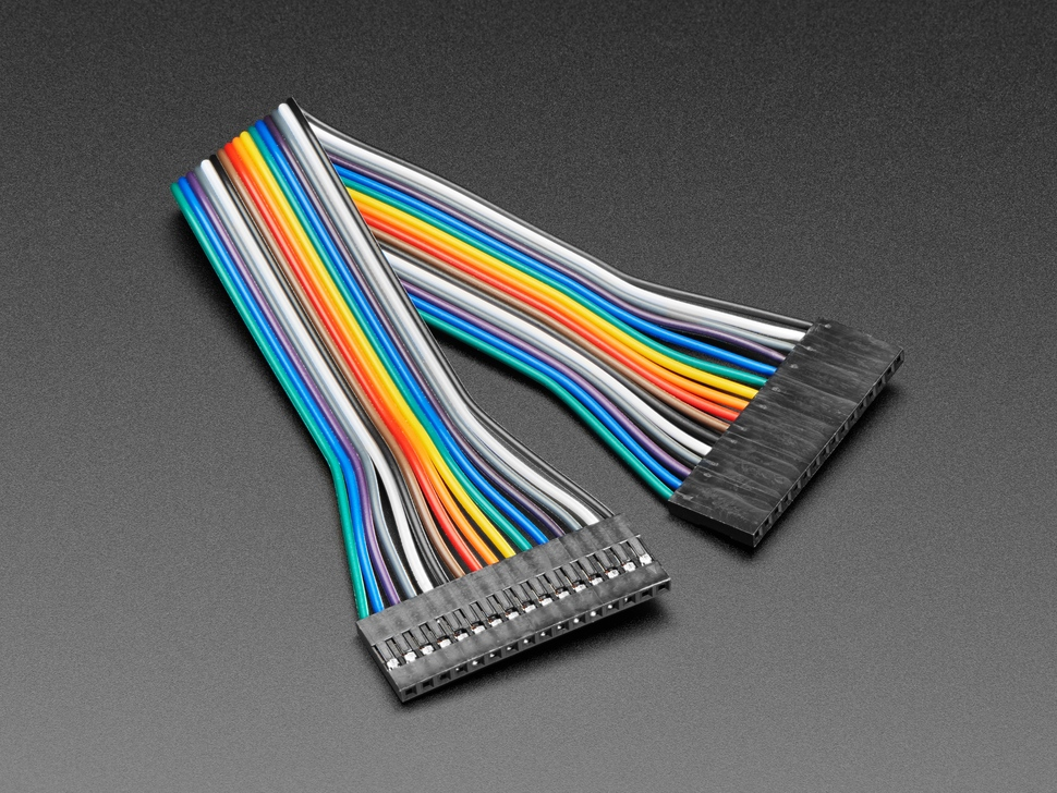 Angled shot of 20cm long 16-pin 2.54mm pitch jumper cable.