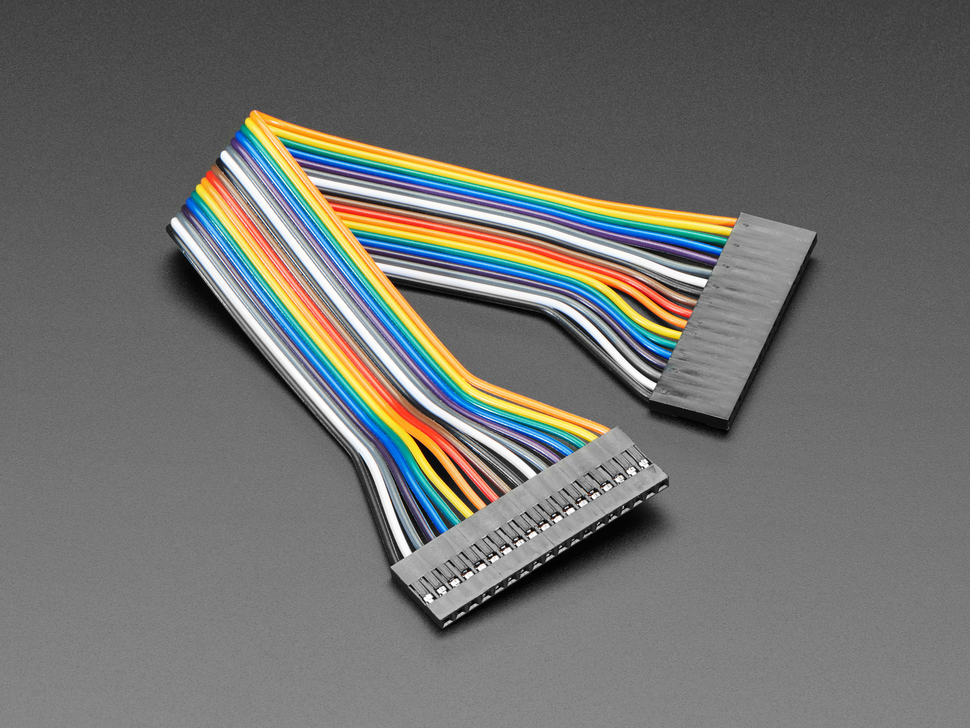 Angled shot of 20cm long 18-pin 2.54mm pitch jumper cable.
