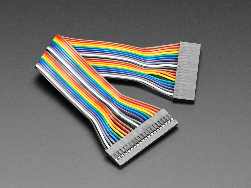 Angled shot of 20cm long 20-pin 2.54mm pitch jumper cable.