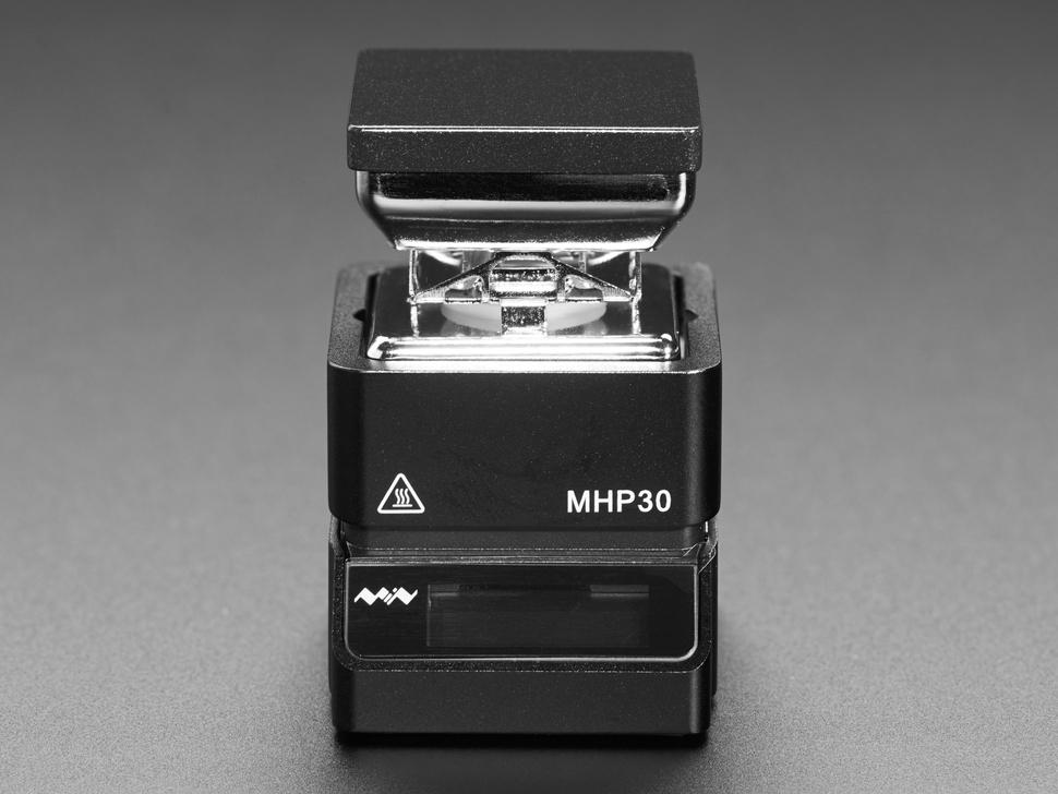 Head-on shot of assembled mini burner.