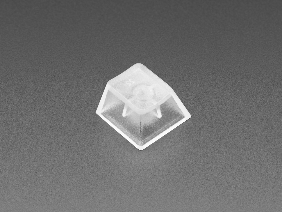 Close up of single translucent key cap.