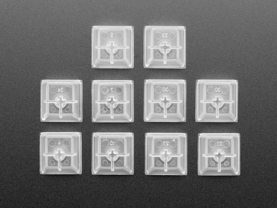 Top view of 10 translucent key caps.