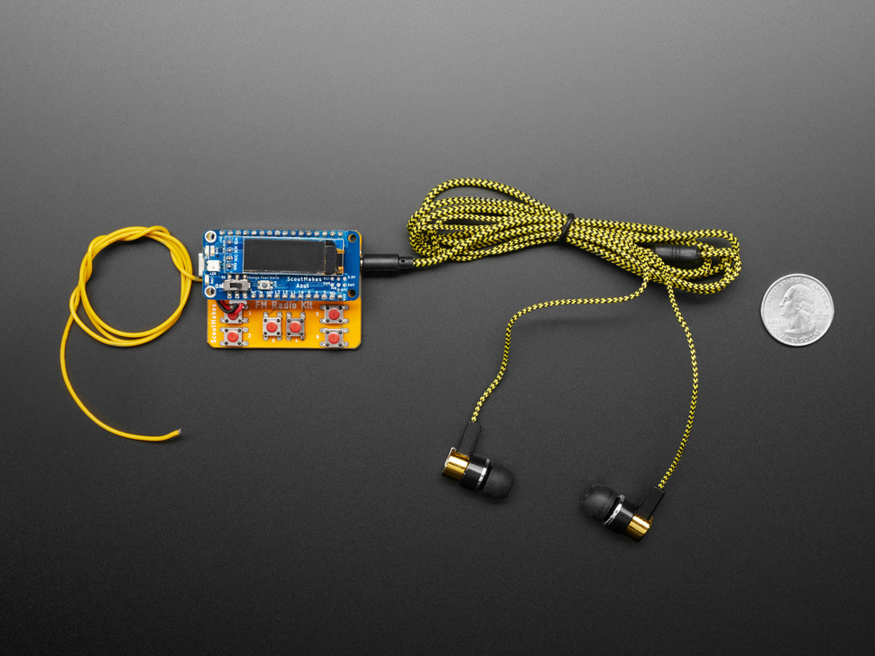 Top view of FM radio kit with black earbuds.