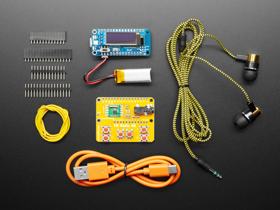 Top view of FM radio kit contents.