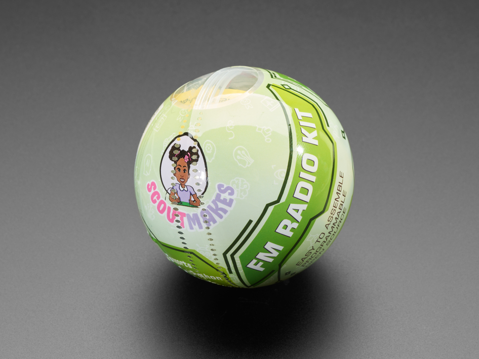 Close-up of round ball packaging.