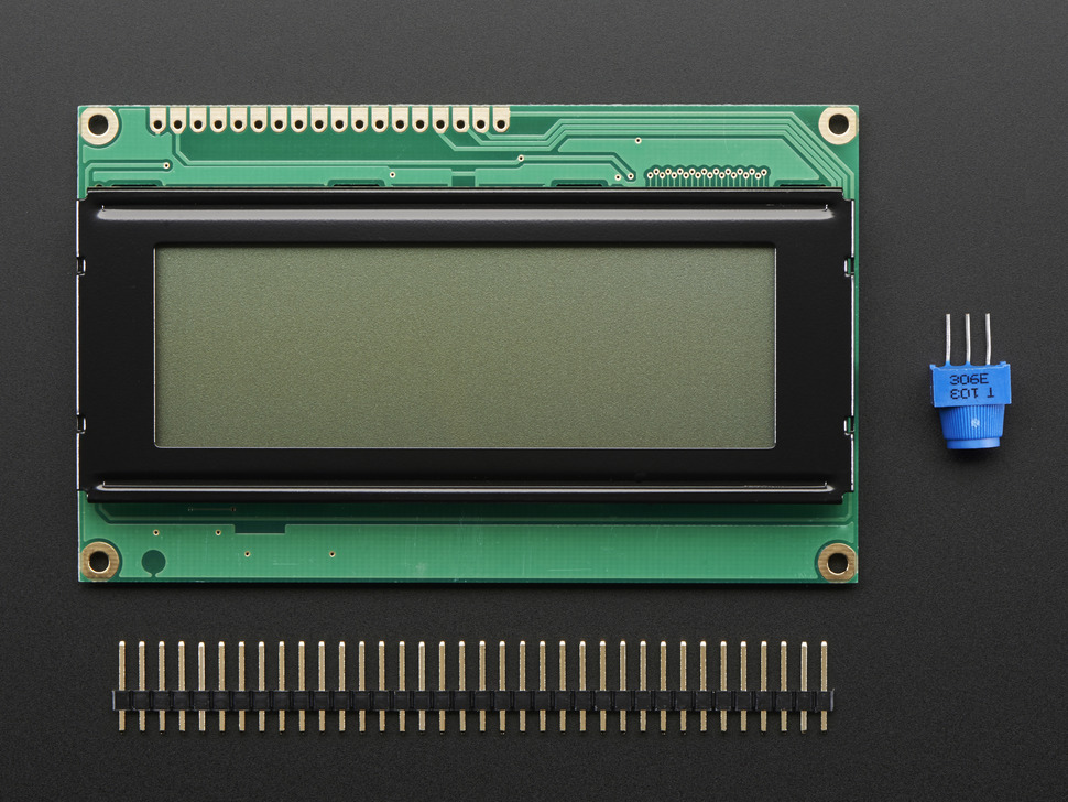 Character LCD with 20x4 characters, with header and potentiometer