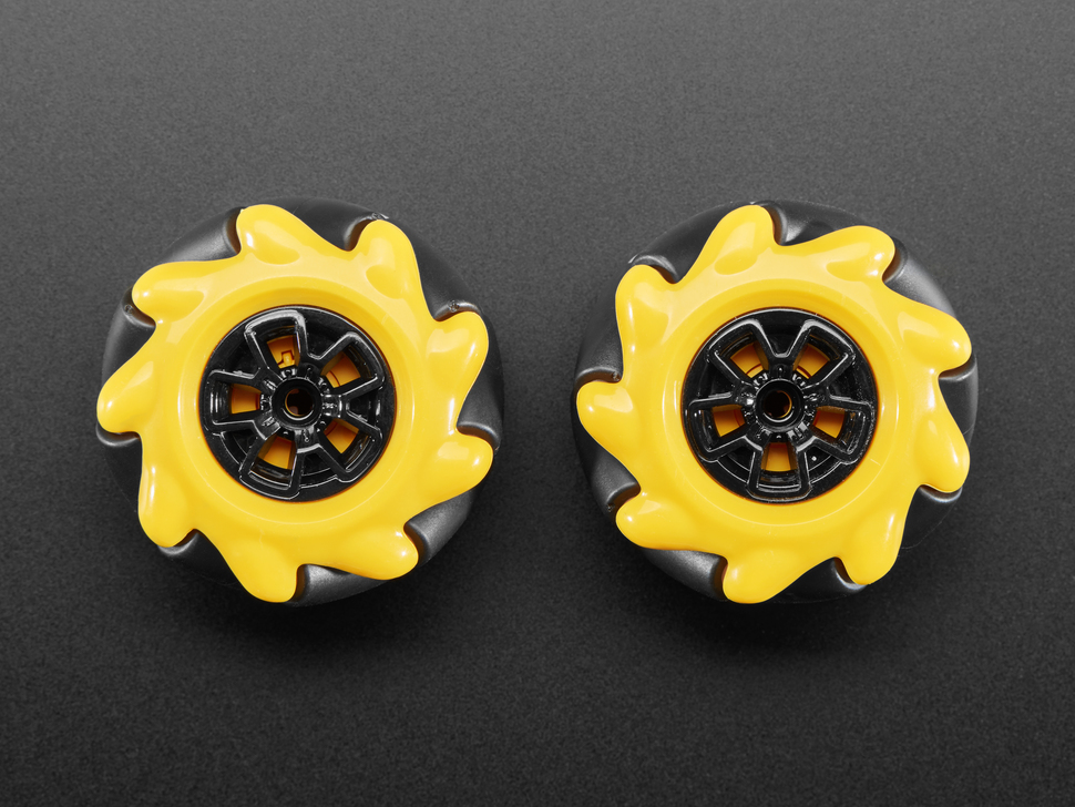 Top view of left and right mecanum wheels.