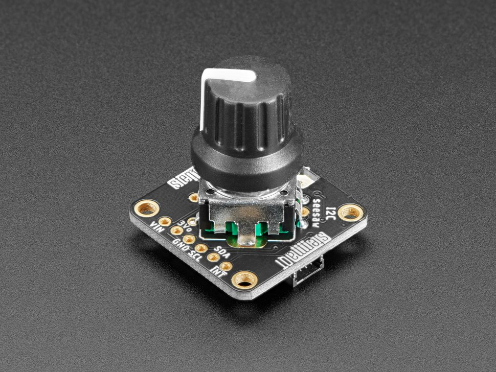 Angled shot of soldered and assembled rotary encoder.
