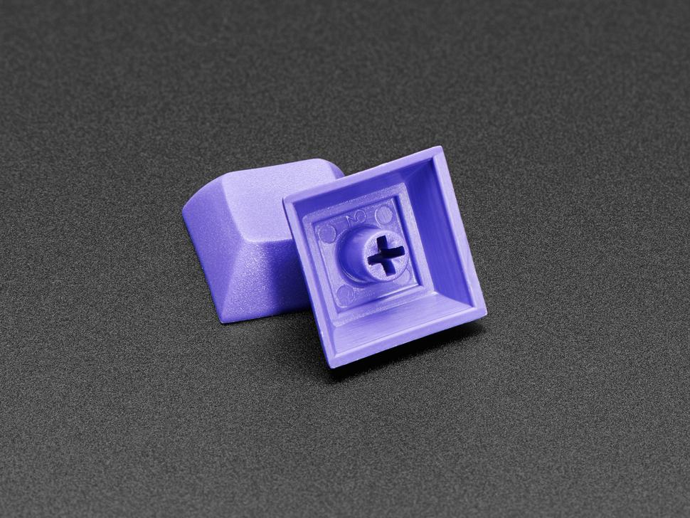 Detail shot of bottom of purple DSA key cap