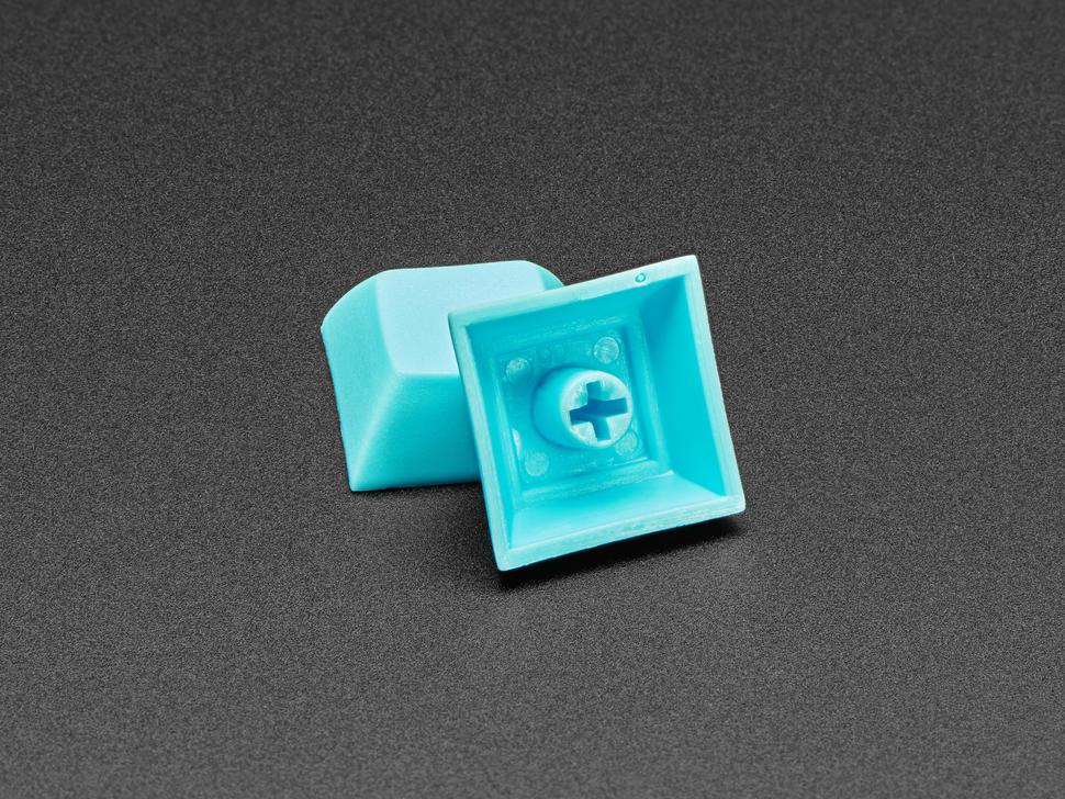 Bottom detail of light blue DSA key cap