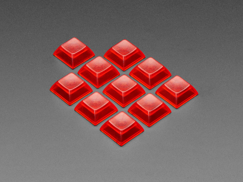 Angled shot of Translucent Red DSA Keycaps for MX Compatible Switches - 10 pack
