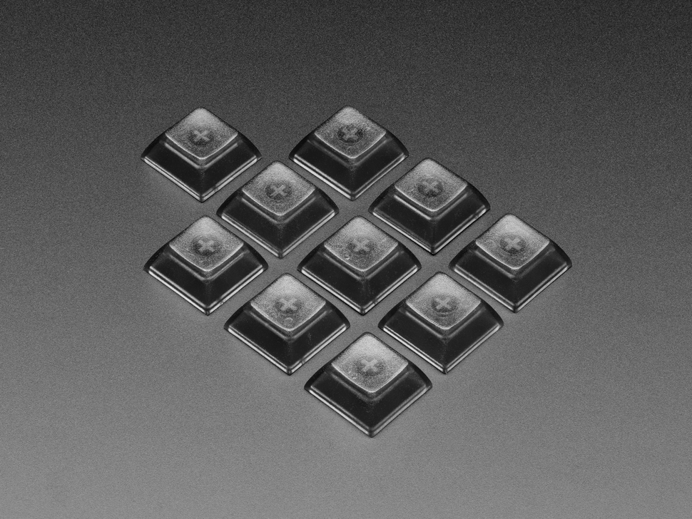 Grouped shot of 10 pack DSA color keycap Translucent Smoke KIT