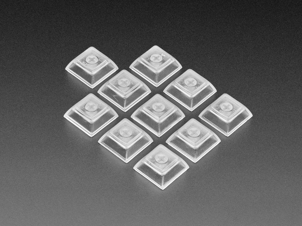 Group shot of Clear DSA Keycaps for MX Compatible Switches - 10 pack