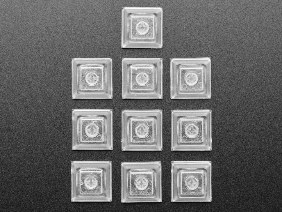 Top shot of Clear DSA Keycaps for MX Compatible Switches - 10 pack