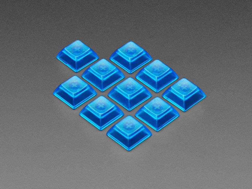 Group shot of 10 pack DSA color keycap BLUE TRANSPARENT KIT8