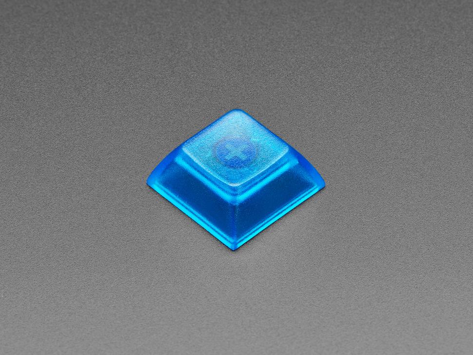 Top view of DSA BLUE TRANSPARENT color keycap