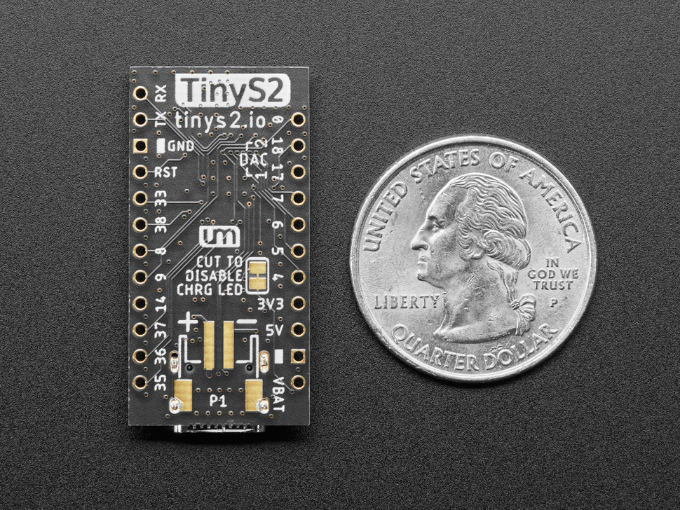 Bottom of TinyS2 dev board next to US quarter for scale.