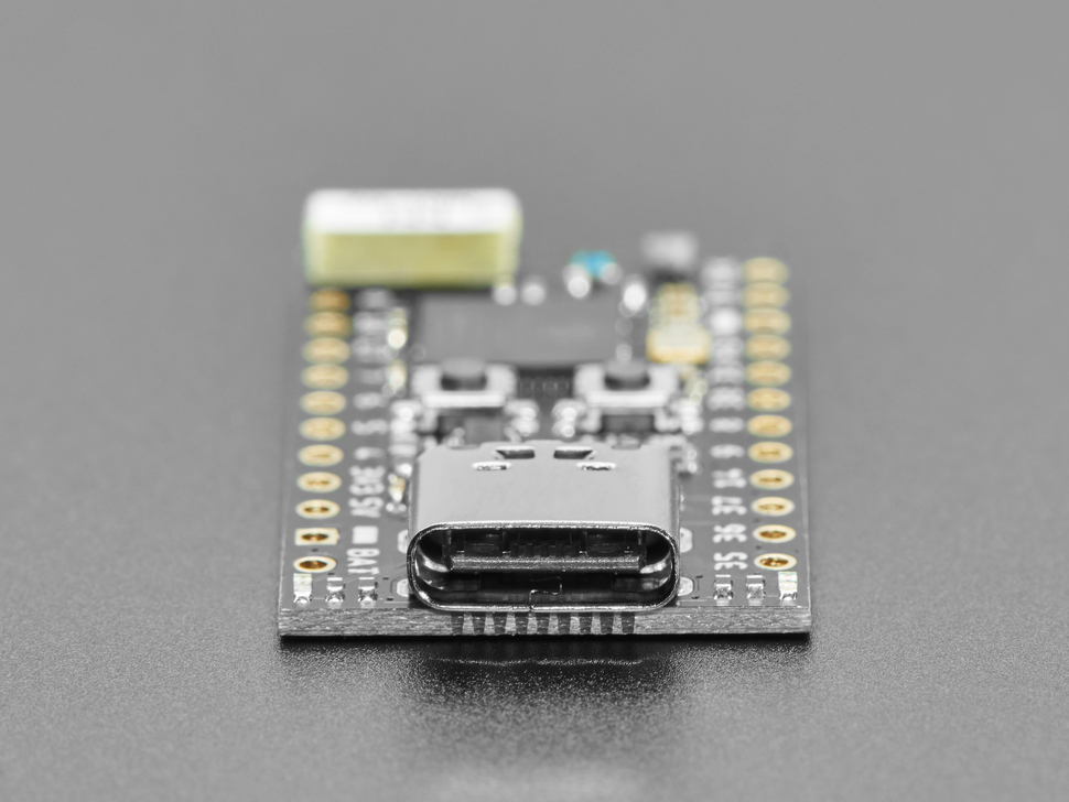 Close-up of USB-C connector on Tiny S2 dev board.