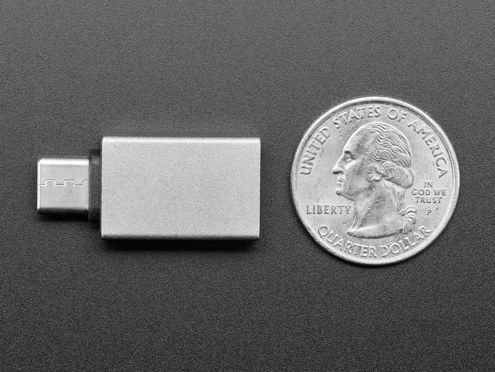 Top view gray rectangular USA A socket to USB C plug adapter next to US Quarter for scale.