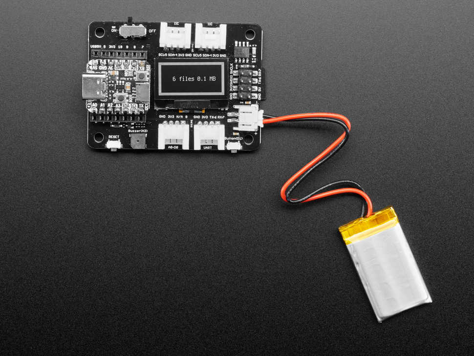The OLED on an extension board delivers a readout display and reports the memory size.