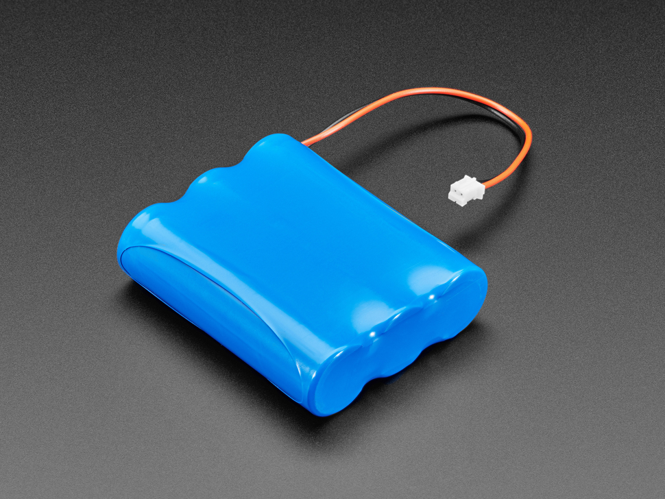 Angled shot of blue rectangular lithium polymer battery with 2-pin JST connector.