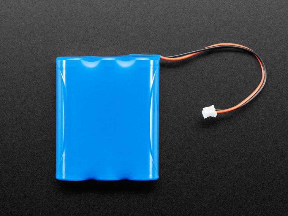 Top view of blue rectangular lithium polymer battery with 2-pin JST connector..