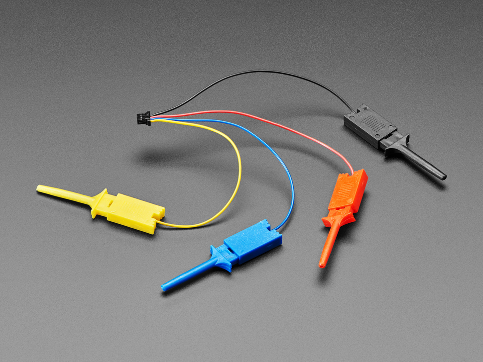 Angled shot of a JST-SH cable with four micro SMT test hooks in yellow, blue, red, and black.