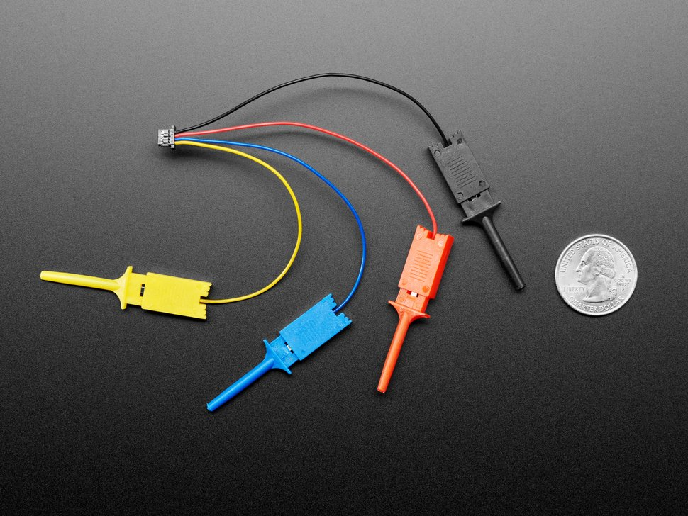 JST-SH cable with four micro SMT test hooks in yellow, blue, red, and black next to US quarter for scale.