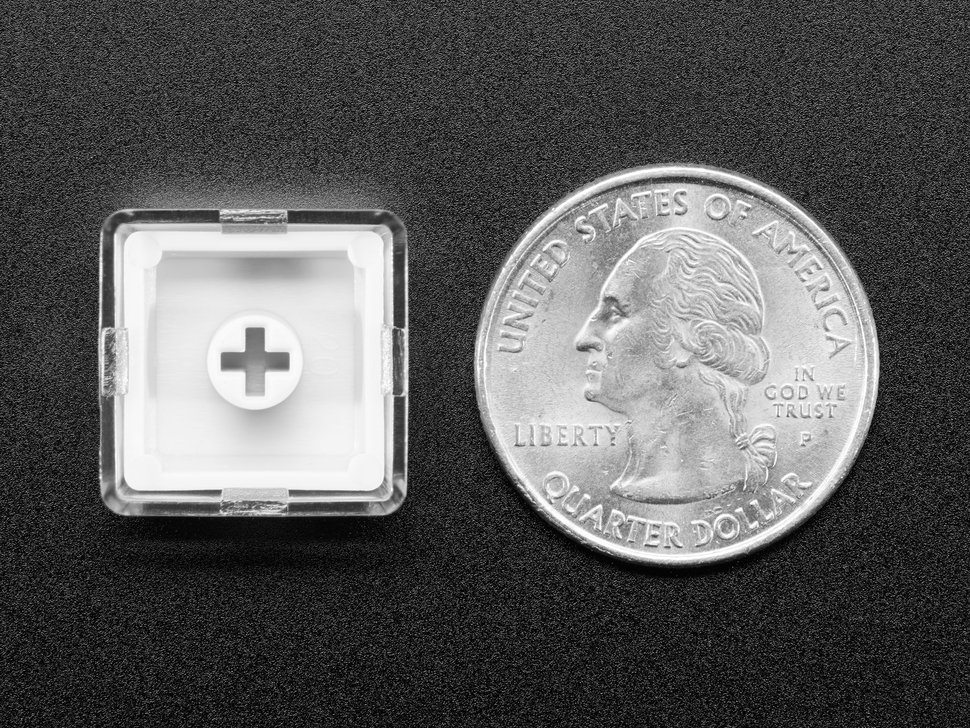 Bottom of single keycap next to US quarter for scale.