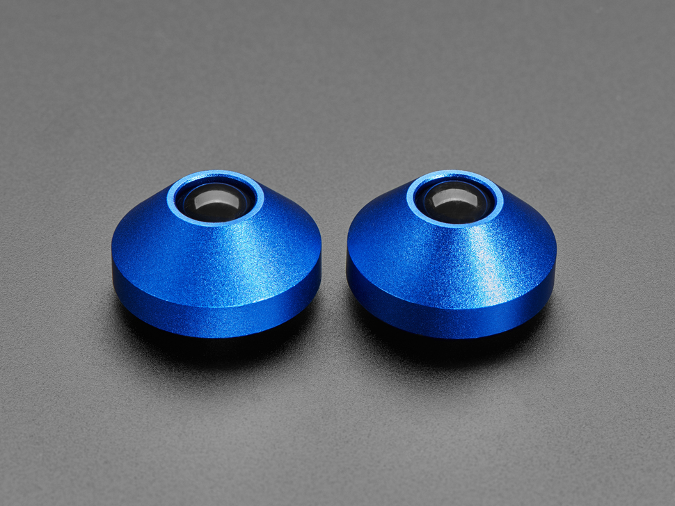 Angled shot of two blue aluminum bumper feet.