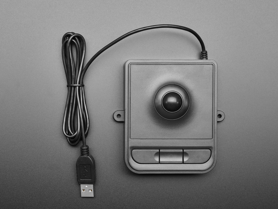 Top view of black panel mount optical trackball.