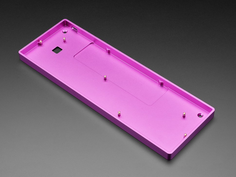 Angled shot of purple aluminum keyboard shell.