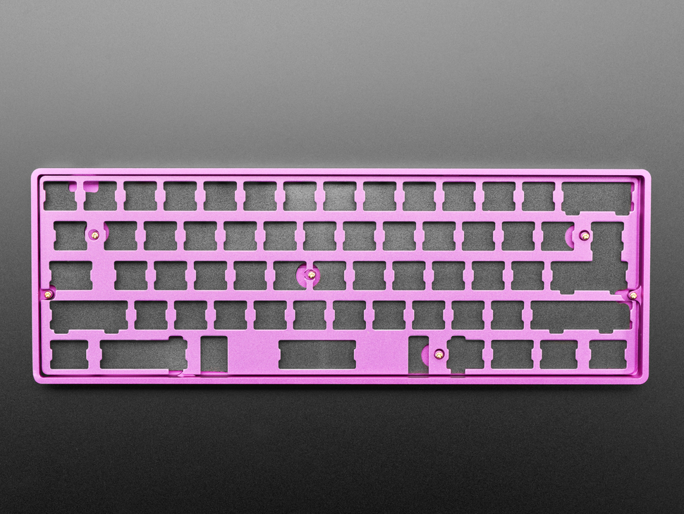 Top view of Anodized Purple Aluminum Metal Keyboard Plate assembled with felt padding and purple enclosure.