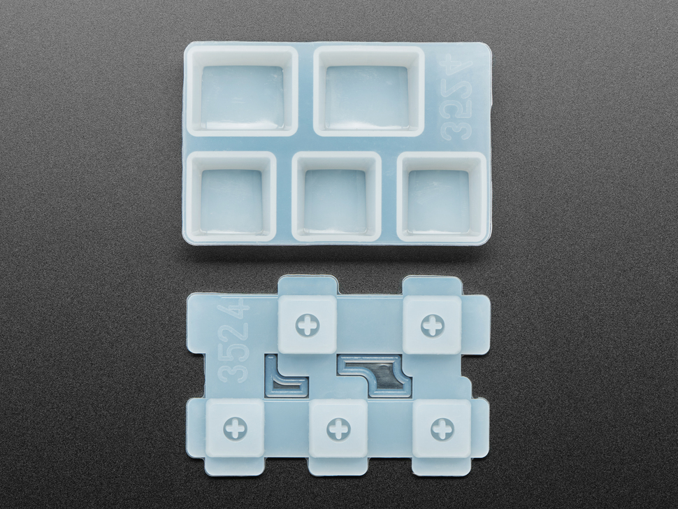Top view of Ctrl keycap mold pieces.