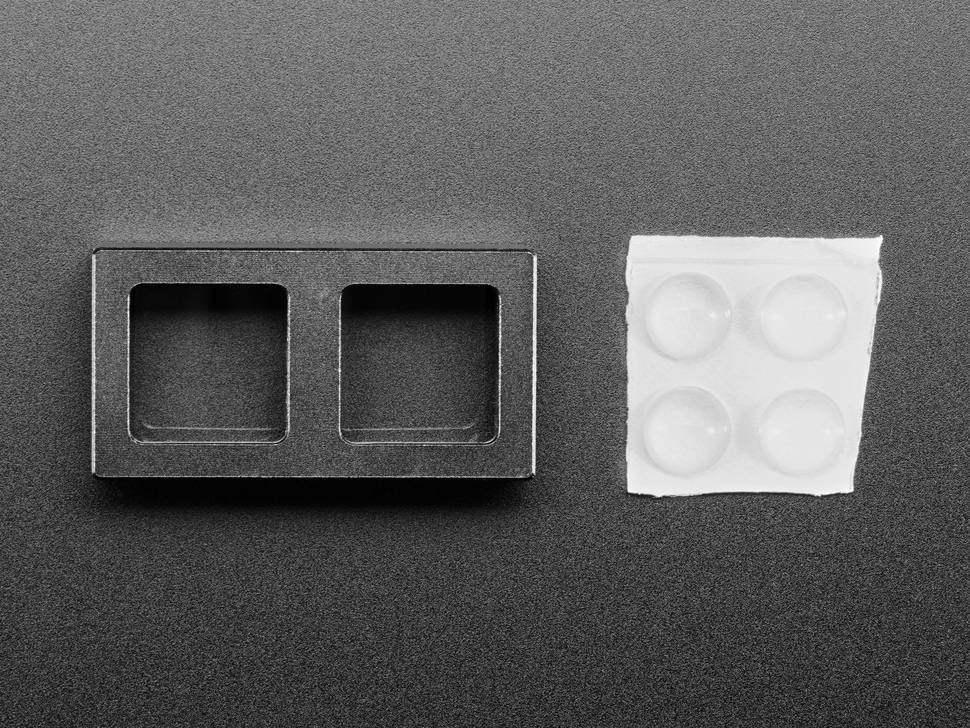 Top view of 2-Key Aluminum Keypad Shell in Adafruit Black with clear rubber bumper feet.