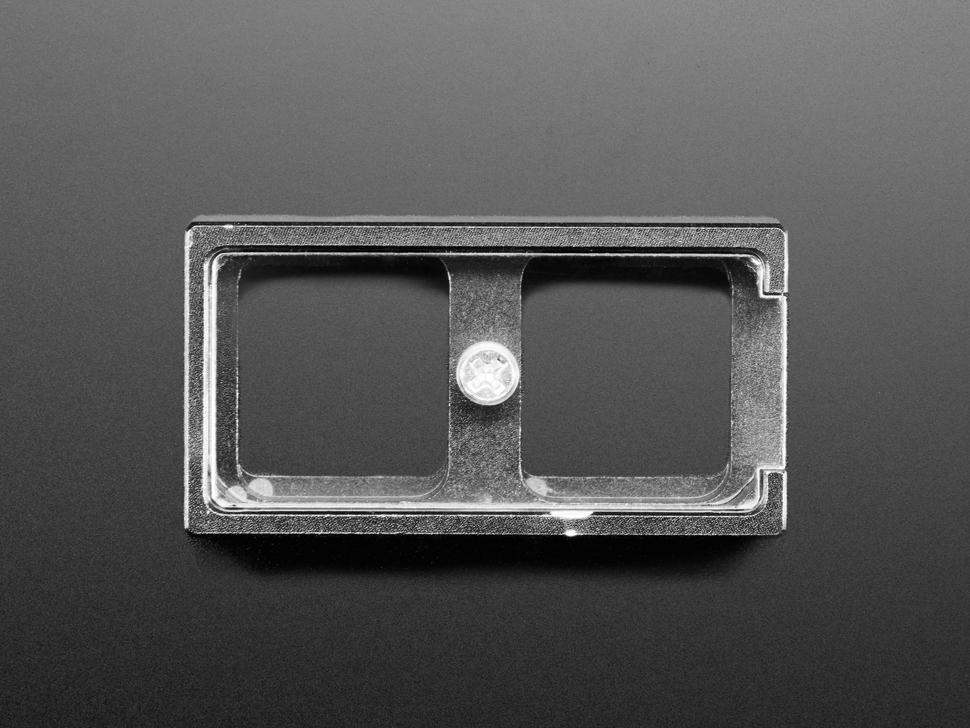 Top view of 2-Key Aluminum Keypad Shell in Adafruit Black.