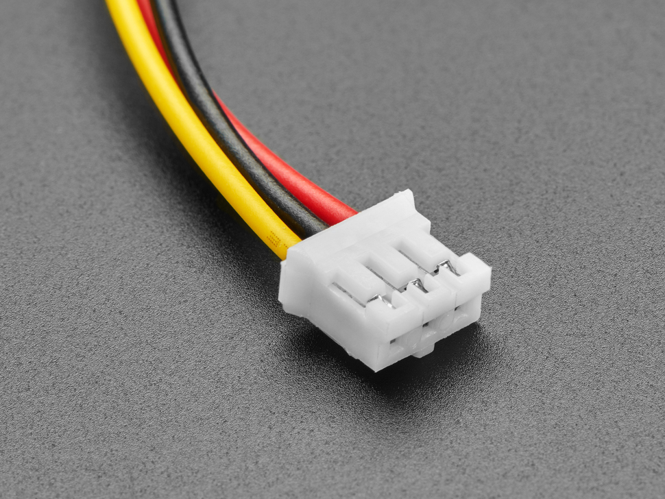 Close-up of 2.0mm pitch 3-pin JST PH plug connector.