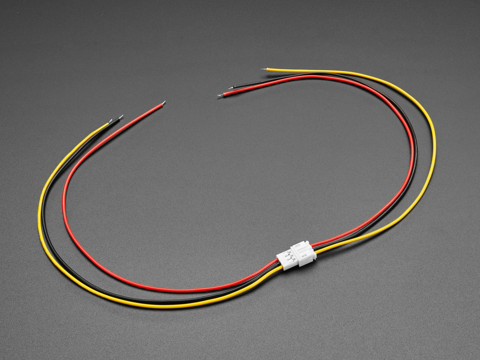 Angled shot of two 2.0mm pitch 3-pin JST PH matching cable pairs. The cables are connected.