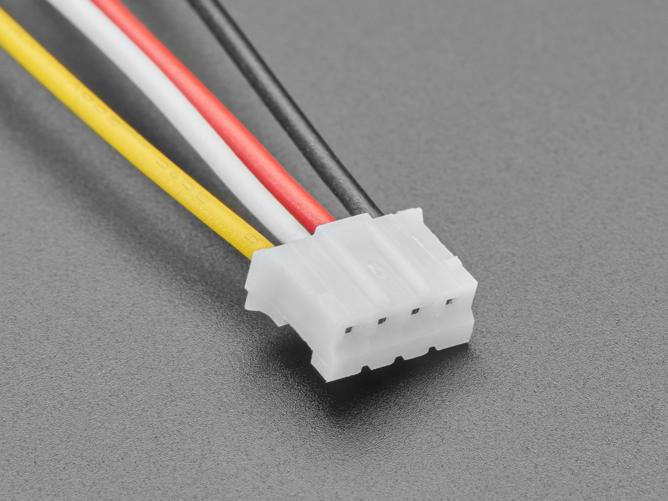 Close-up of 2.0mm pitch 4-pin JST PH plug connector.