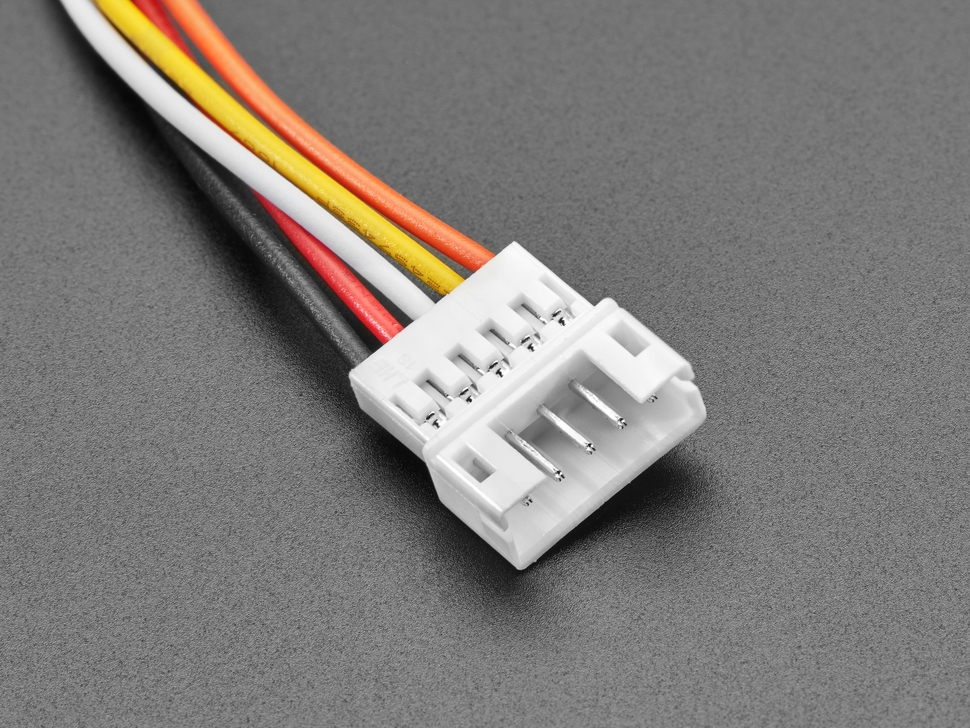 Close-up of 2.0mm pitch 5-pin socket connector on cable.