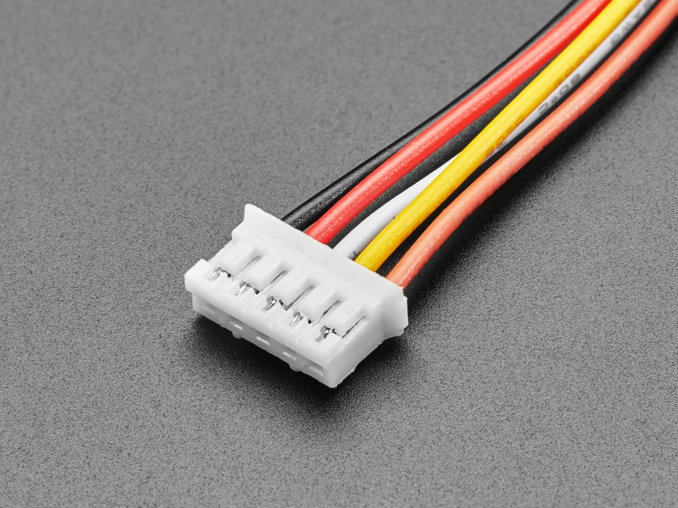 Close-up of 2.0mm pitch 5-pin plug connector on cable.
