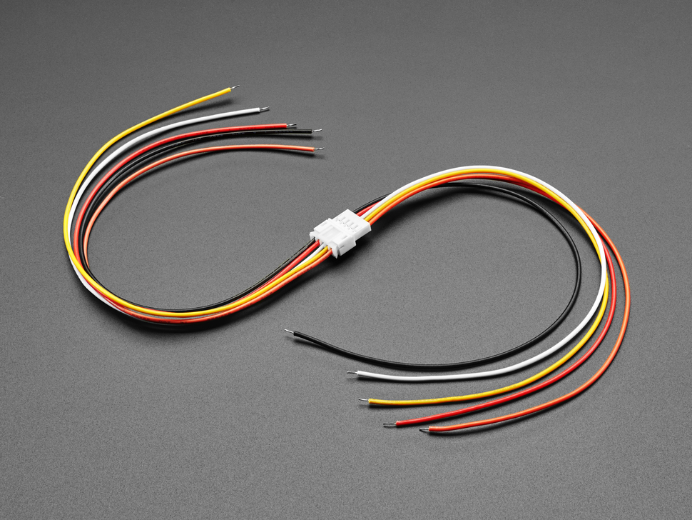 Angled shot of two 2.0mm pitch 5-pin matching cable pairs. The cables are connected.