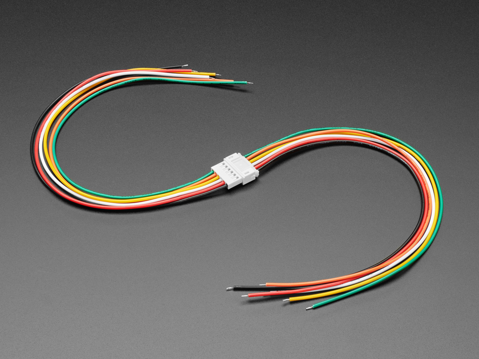 Angled shot of two connected JST-PH 2.00mm Pitch 6-pin Matching Pair Cables - 40cm long.