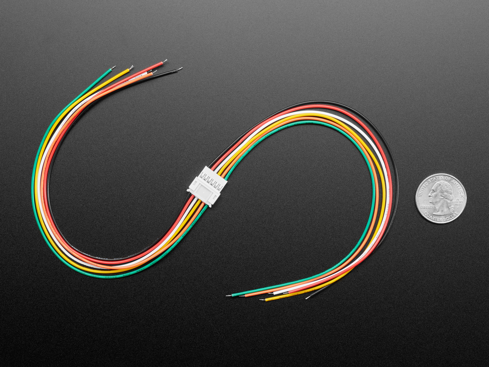 Top view of JST-PH 2.00mm Pitch 6-pin Matching Pair Cables - 40cm long next to US quarter for scale.